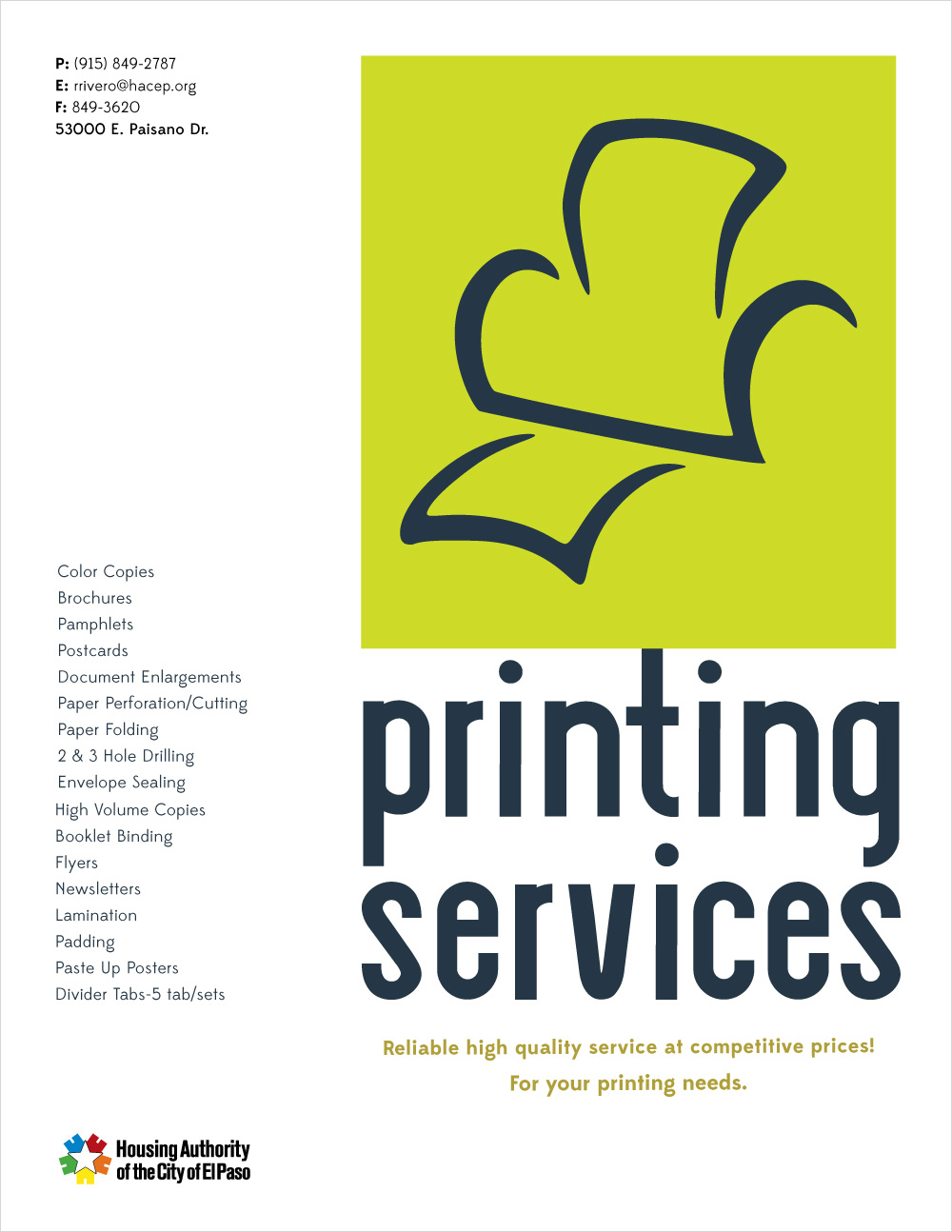HACEP Printing Services Poster (Side 1)